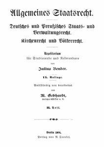 Allgemeines Staatsrecht – Teil 2: Preußisches Staats- und Verwaltungsrecht, Kirchenrecht, Völkerrecht
