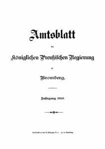 Amtsblatt der Königlichen Preußischen Regierung zu Bromberg – Jahrgang 1918