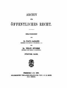 Archiv für Öffentliches Recht – Fünfter Band