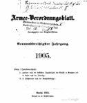 Armee-Verordnungsblatt – 1905 – Neununddreißigster Jahrgang
