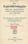 Das Kapitalabfindungsgesetz – Gesetz über Kapitalabfindung an Stelle von Kriegsversorgung vom 3. Juli 1916