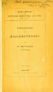 Deutsche Medizinal-Zeitung No.77 – Laienmassage und Augenheilkunde – Jahrgang 1893