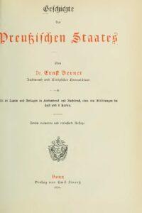 Geschichte des Preußischen Staates – Jahrgang 1896