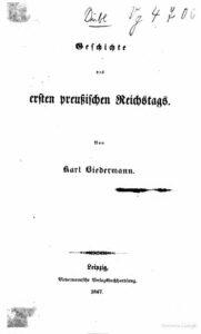 Geschichte des ersten preußischen Reichstags – Jahrgang 1847