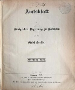 Amtsblatt der Königlichen Regierung zu Potsdam und der Stadt Berlin – Jahrgang 1916