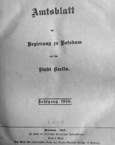 Amtsblatt der Regierung zu Potsdam und der Stadt Berlin – Jahrgang 1918