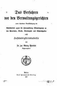 Das Verfahren vor den Verwaltungsgerichten – 1907