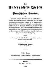 Das Unterrichtswesen des Preußischen Staates – Erster Band – Allgemeiner Theil, Privatunterricht & Volksschulwesen