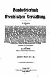 Handwörterbuch der preußischen Verwaltung – Zweiter Band: L-Z