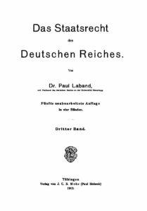 Das Staatsrecht des Deutschen Reiches – Dritter Band