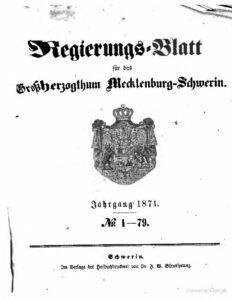 Regierungsblatt für Mecklenburg-Schwerin – Jahrgang 1871