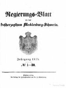 Regierungsblatt für Mecklenburg-Schwerin – Jahrgang 1875