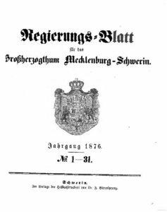 Regierungsblatt für Mecklenburg-Schwerin – Jahrgang 1876
