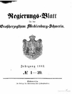 Regierungsblatt für Mecklenburg-Schwerin – Jahrgang 1882