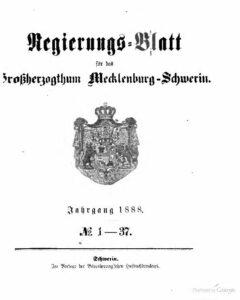 Regierungsblatt für Mecklenburg-Schwerin – Jahrgang 1888