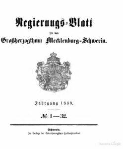 Regierungsblatt für Mecklenburg-Schwerin – Jahrgang 1889