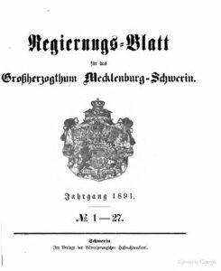 Regierungsblatt für Mecklenburg-Schwerin – Jahrgang 1891