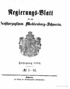 Regierungsblatt für Mecklenburg-Schwerin – Jahrgang 1892