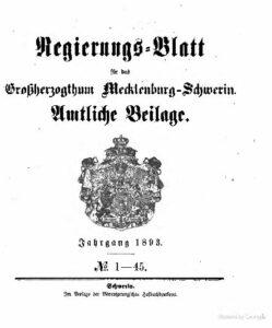 Regierungsblatt für Mecklenburg-Schwerin – Jahrgang 1893