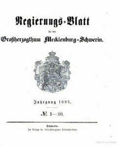 Regierungsblatt für Mecklenburg-Schwerin – Jahrgang 1895