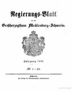 Regierungsblatt für Mecklenburg-Schwerin – Jahrgang 1896