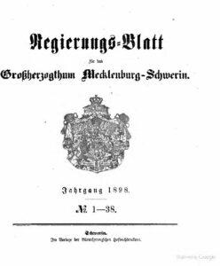 Regierungsblatt für Mecklenburg-Schwerin – Jahrgang 1898