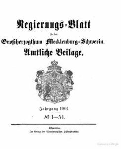 Regierungsblatt für Mecklenburg-Schwerin – Jahrgang 1901