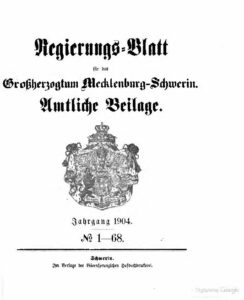 Regierungsblatt für Mecklenburg-Schwerin – Jahrgang 1904