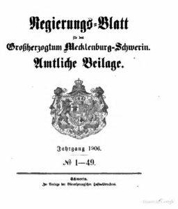Regierungsblatt für Mecklenburg-Schwerin – Jahrgang 1906