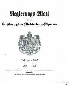 Regierungsblatt für Mecklenburg-Schwerin – Jahrgang 1907