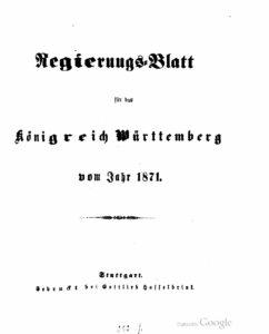 Regierungsblatt für das Königreich Württemberg – Jahrgang 1871