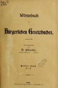 Wörterbuch des Bürgerlichen Gesetzbuches – Dritter Band: T-Z