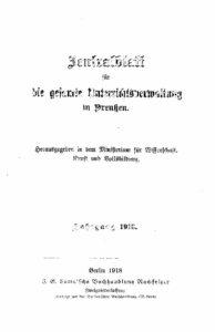 Zentralblatt für die gesamte Unterrichtsverwaltung in Preußen – Jahrgang 1918