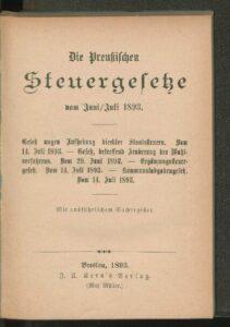 Die preußischen Steuergesetze vom Juni-Juli 1893