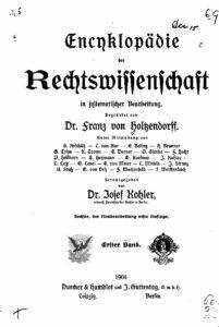Encyklopädie der Rechtswissenschaft in systematischer Bearbeitung – Erster Band