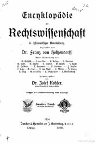 Encyklopädie der Rechtswissenschaft in systematischer Bearbeitung – Zweiter Band