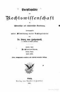 Encyklopädie der Rechtswissenschaft in systematischer und alphabetischer Bearbeitung – Zweiter Theil – Rechtslexicon – Dritter Band – Zweite Hälfte