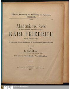 Akademische Rede zur Feier des Geburtsfestes des höchstseligen Grossherzogs Karl Friedrich am 22. November 1897