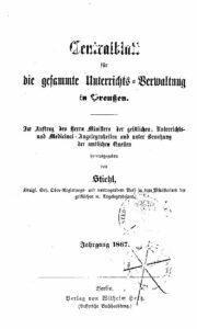 Zentralblatt für die gesamte Unterrichtsverwaltung in Preußen – 1867