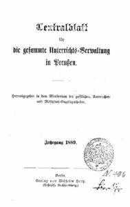 Zentralblatt für die gesamte Unterrichtsverwaltung in Preußen – 1889