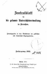 Zentralblatt für die gesamte Unterrichtsverwaltung in Preußen – 1911