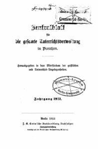 Zentralblatt für die gesamte Unterrichtsverwaltung in Preußen – 1912