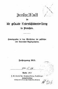 Zentralblatt für die gesamte Unterrichtsverwaltung in Preußen – 1913
