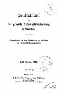 Zentralblatt für die gesamte Unterrichtsverwaltung in Preußen – 1914