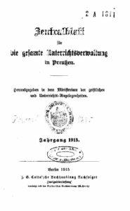 Zentralblatt für die gesamte Unterrichtsverwaltung in Preußen – 1915