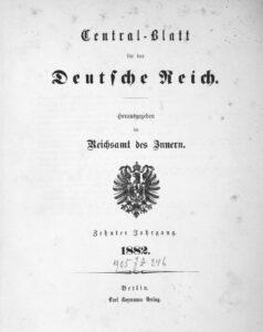 Central-blatt für das Deutsche Reich – 1882