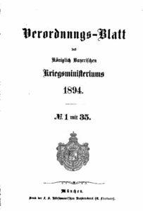 Verordnungs – Blatt des Königlich Bayerischen Kriegsministeriums – 1894