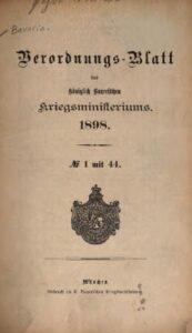 Verordnungs – Blatt des Königlich Bayerischen Kriegsministeriums – 1898