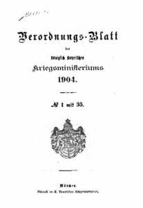 Verordnungs – Blatt des Königlich Bayerischen Kriegsministeriums – 1904