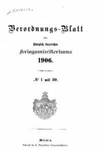 Verordnungs – Blatt des Königlich Bayerischen Kriegsministeriums – 1906
